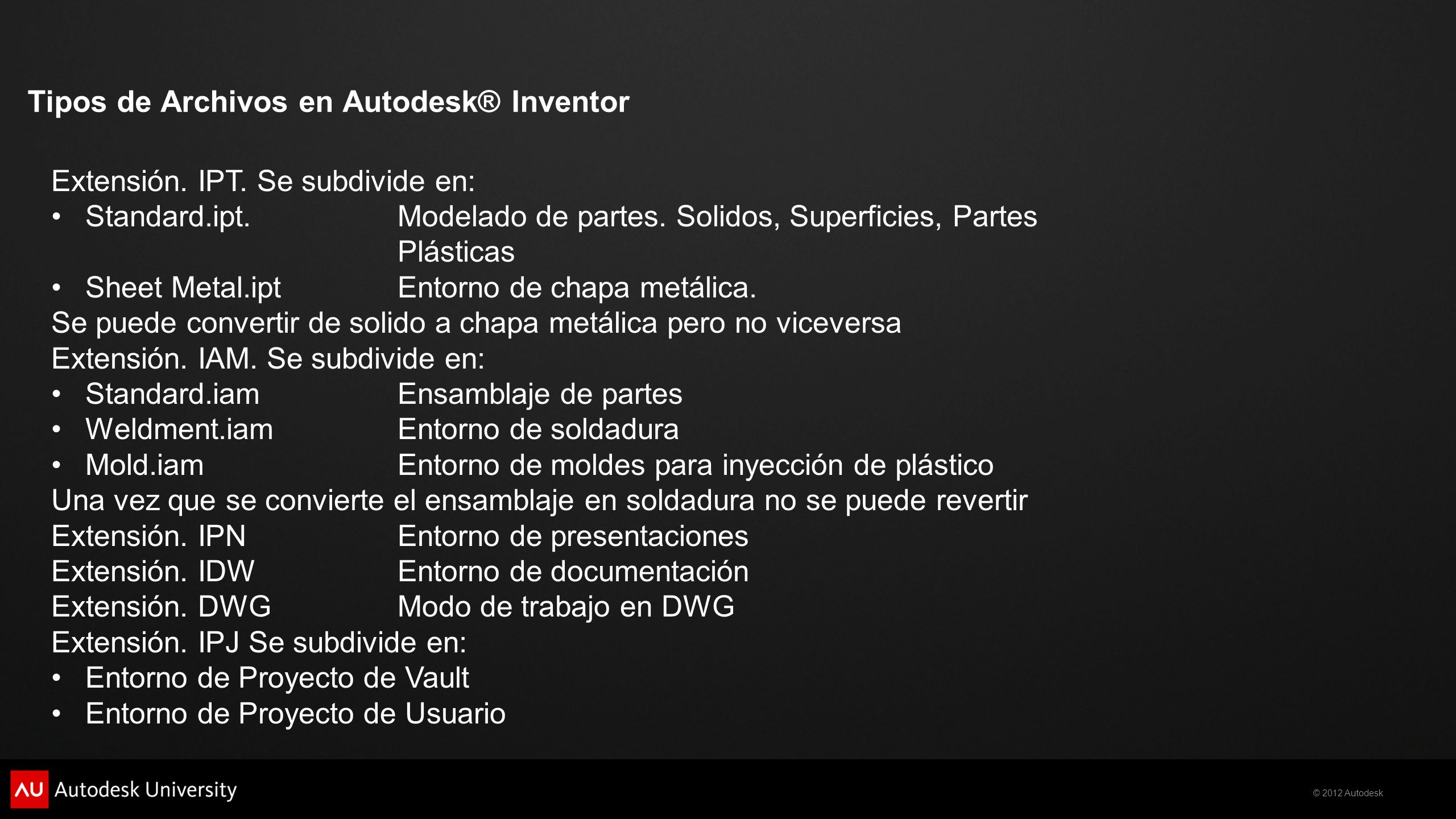 Tipos de Archivos en Autodesk® Inventor