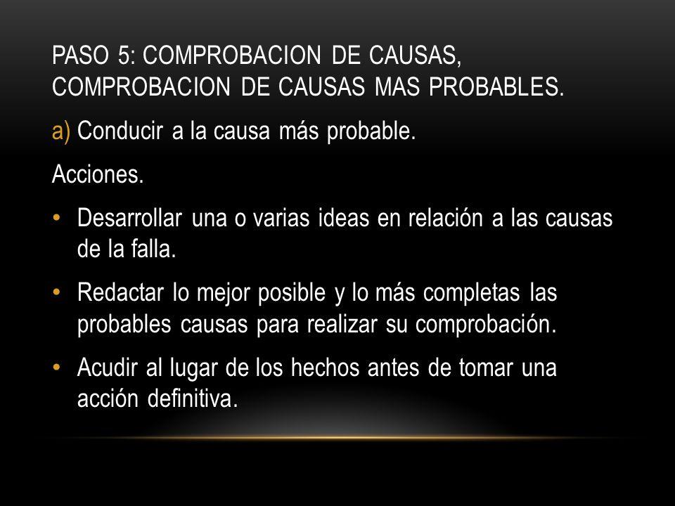 PASO 5: COMPROBACION DE CAUSAS, COMPROBACION DE CAUSAS MAS PROBABLES.