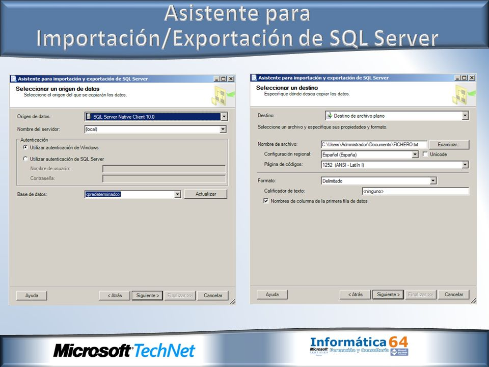 Asistente para Importación/Exportación de SQL Server