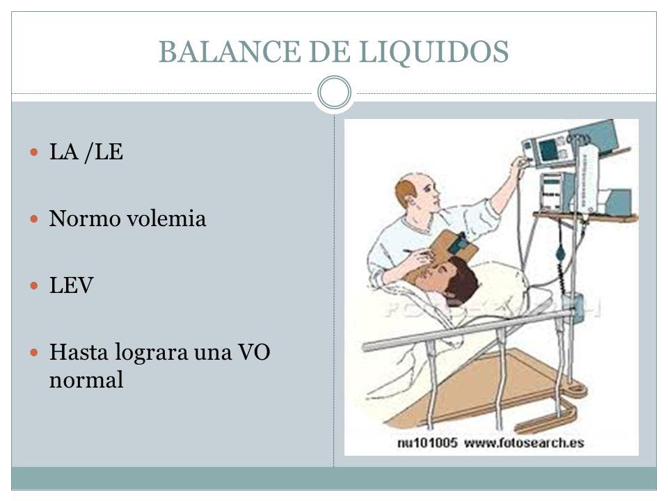 BALANCE DE LIQUIDOS LA /LE Normo volemia LEV