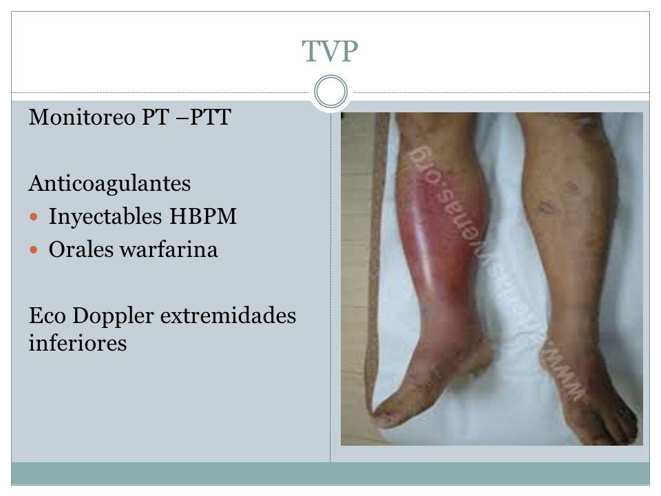 TVP Monitoreo PT –PTT Anticoagulantes Inyectables HBPM