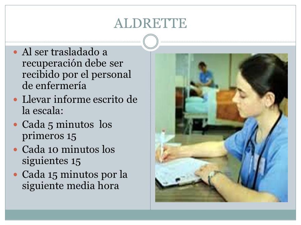 ALDRETTE Al ser trasladado a recuperación debe ser recibido por el personal de enfermería. Llevar informe escrito de la escala: