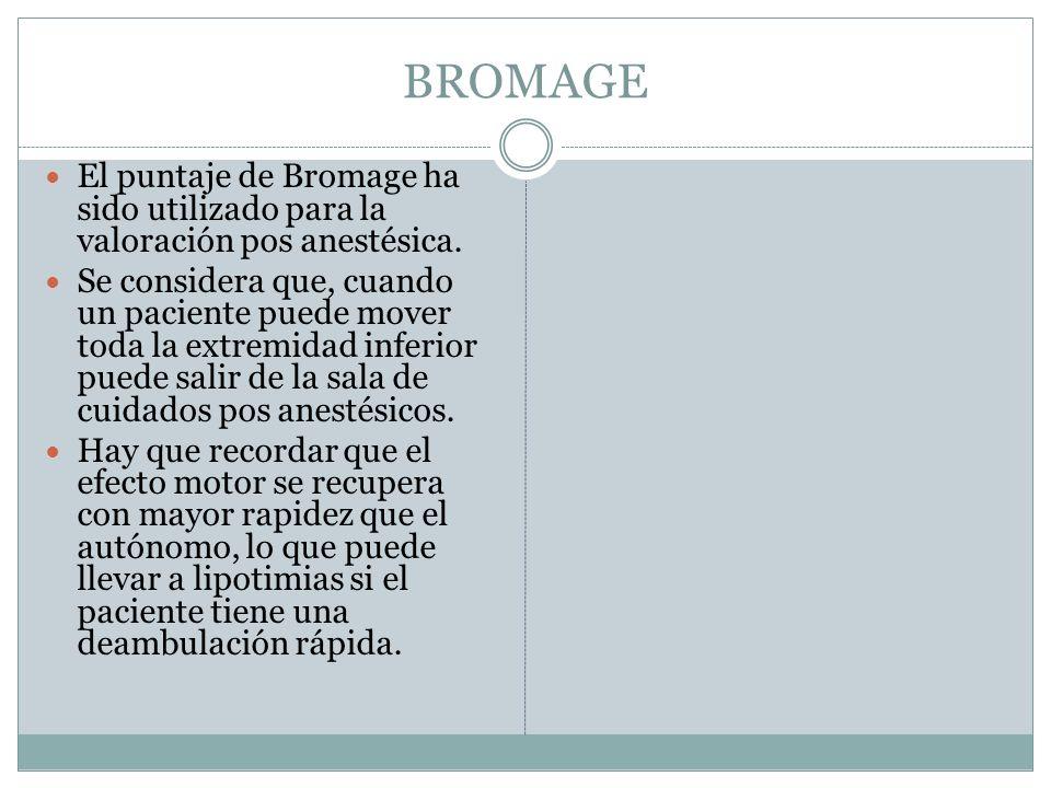 BROMAGE El puntaje de Bromage ha sido utilizado para la valoración pos anestésica.
