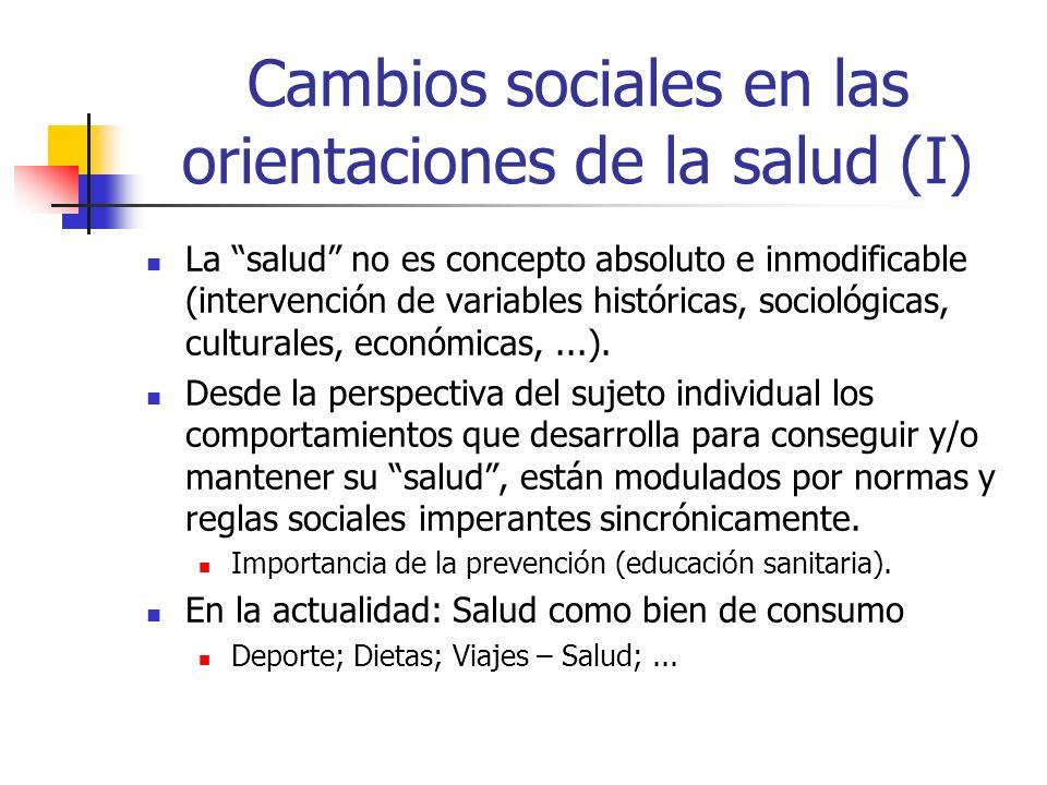 Cambios sociales en las orientaciones de la salud (I)