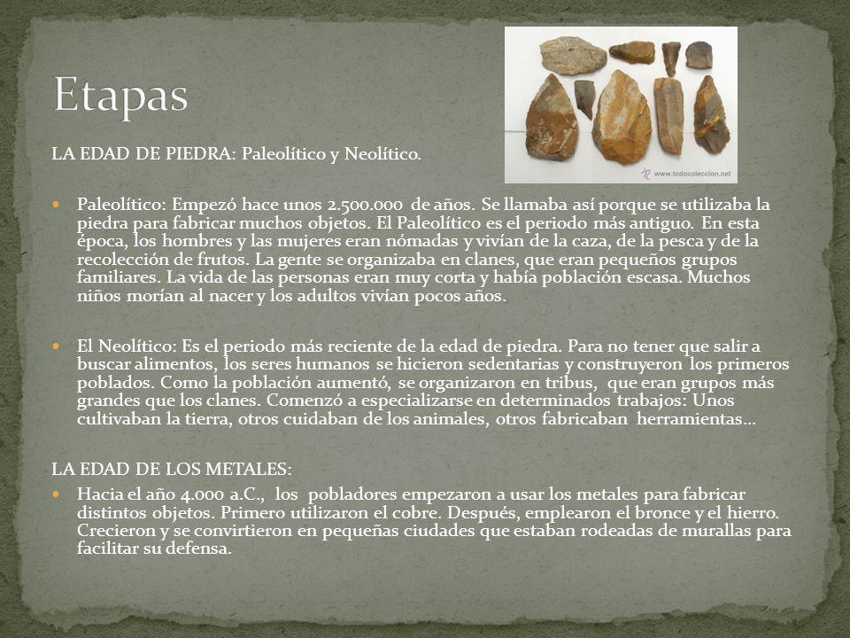 Etapas LA EDAD DE PIEDRA: Paleolítico y Neolítico.