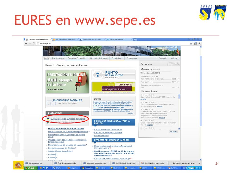 EURES en www.sepe.es