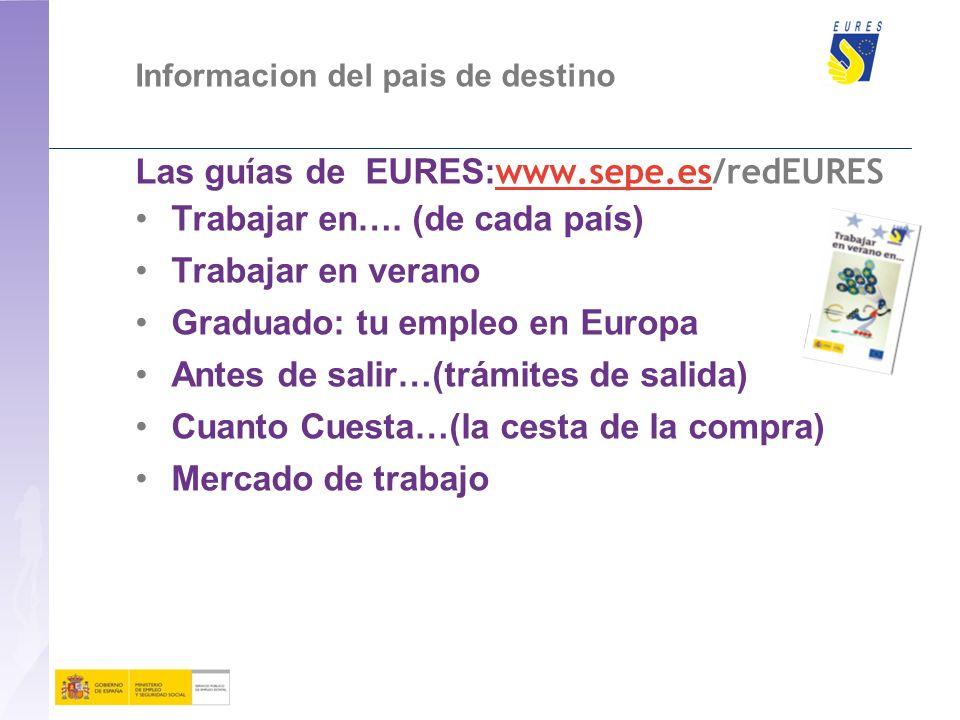 Las guías de EURES:www.sepe.es/redEURES Trabajar en…. (de cada país)