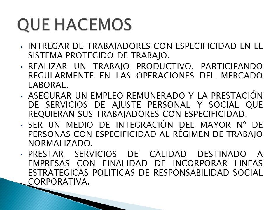 QUE HACEMOS INTREGAR DE TRABAJADORES CON ESPECIFICIDAD EN EL SISTEMA PROTEGIDO DE TRABAJO.