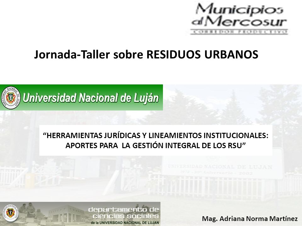 Jornada-Taller sobre RESIDUOS URBANOS