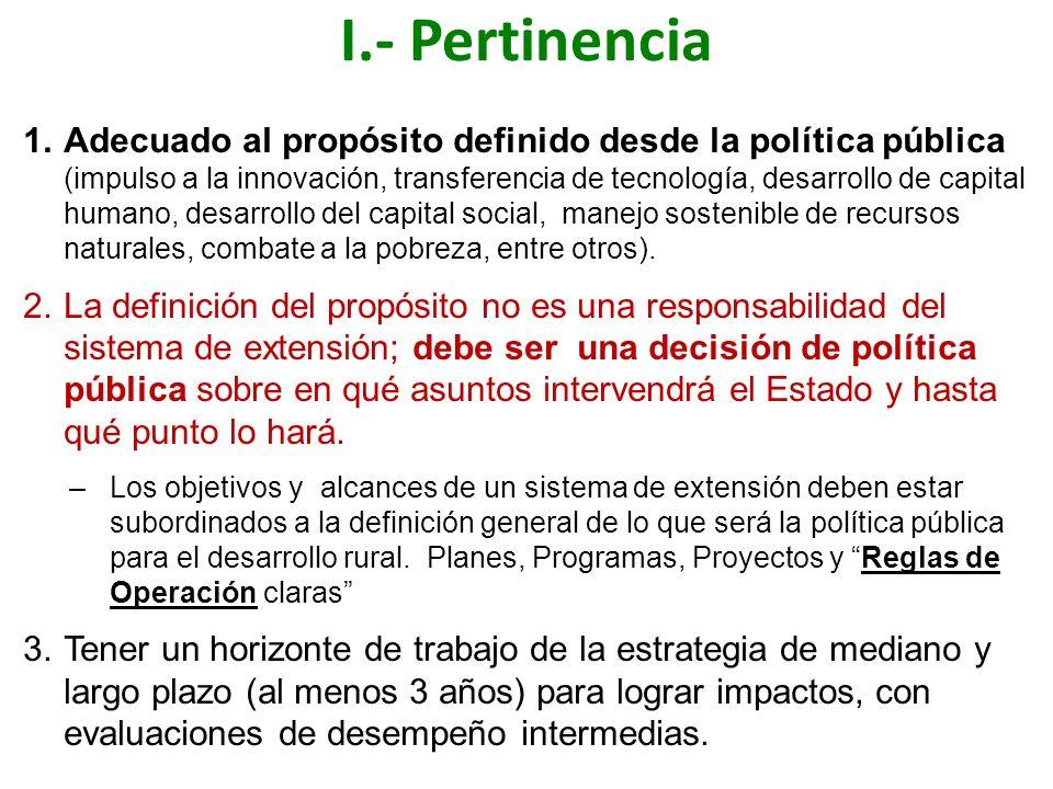 I.- Pertinencia