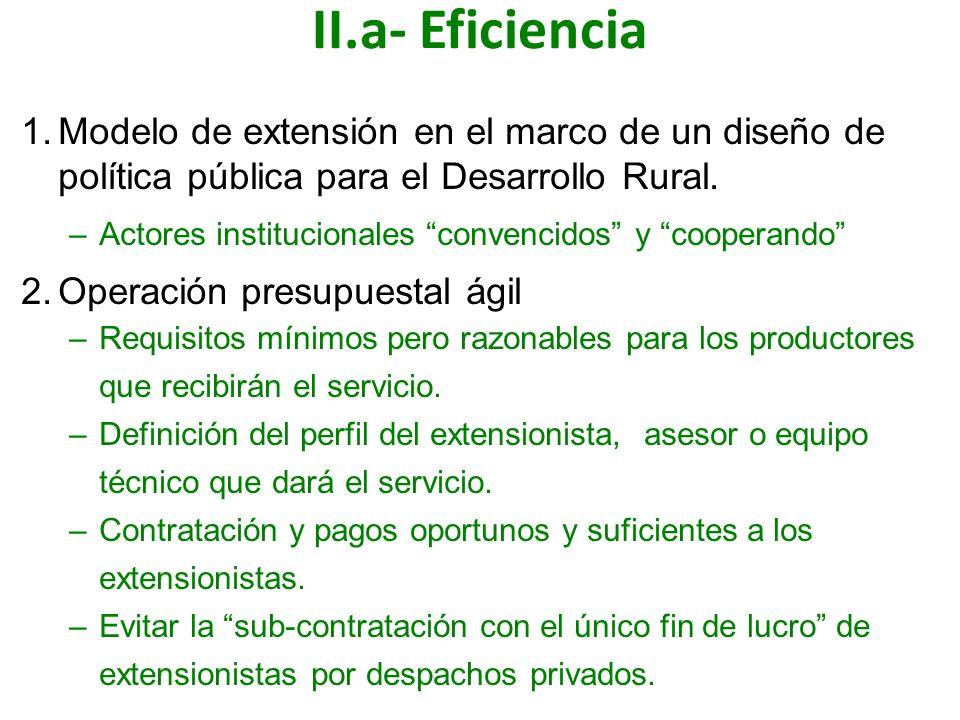 II.a- Eficiencia Modelo de extensión en el marco de un diseño de política pública para el Desarrollo Rural.
