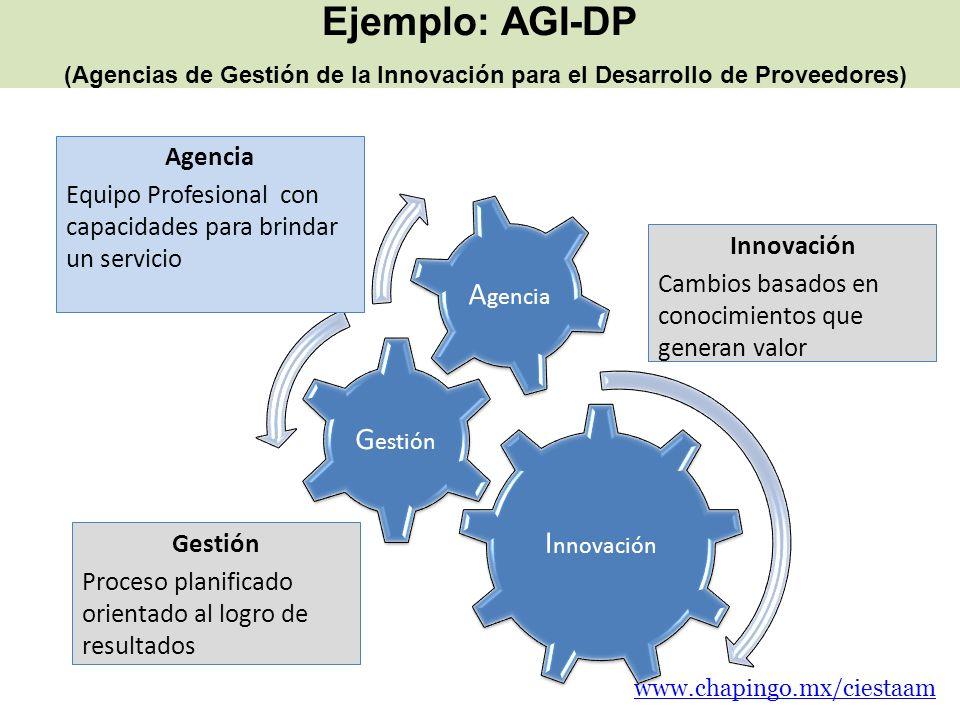 Ejemplo: AGI-DP (Agencias de Gestión de la Innovación para el Desarrollo de Proveedores)