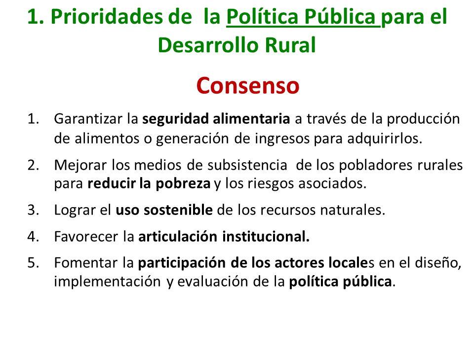 1. Prioridades de la Política Pública para el Desarrollo Rural