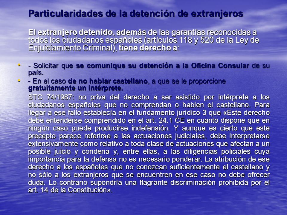 Particularidades de la detención de extranjeros