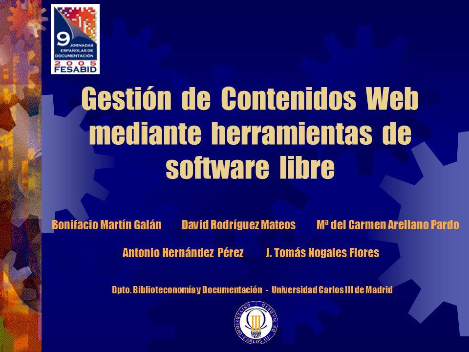 Gestión de Contenidos Web mediante herramientas de software libre