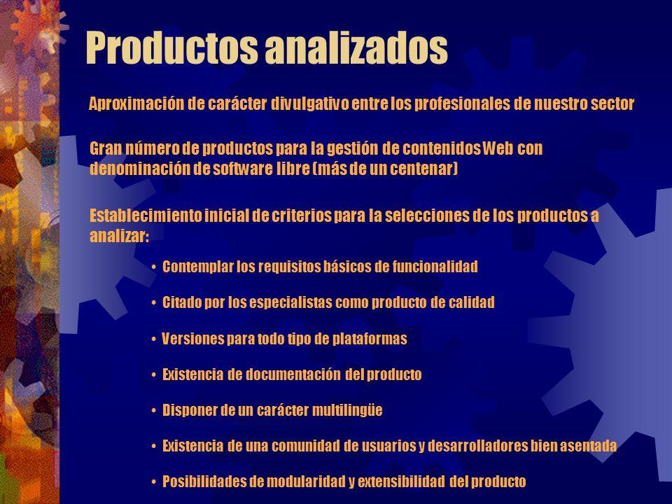 Productos analizados Aproximación de carácter divulgativo entre los profesionales de nuestro sector.