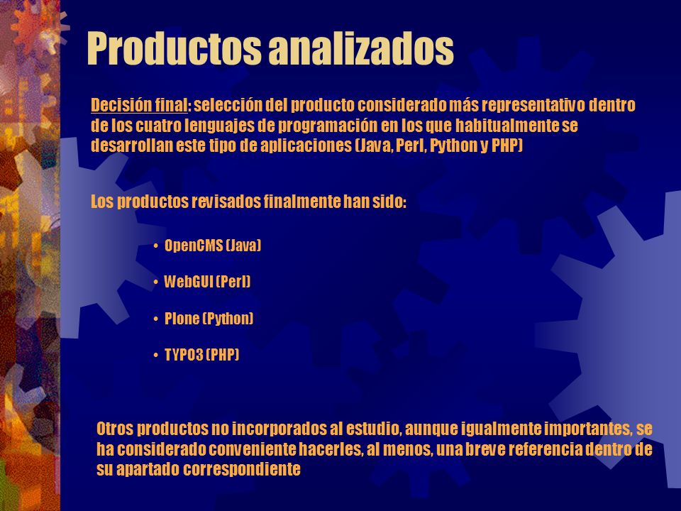 Productos analizados