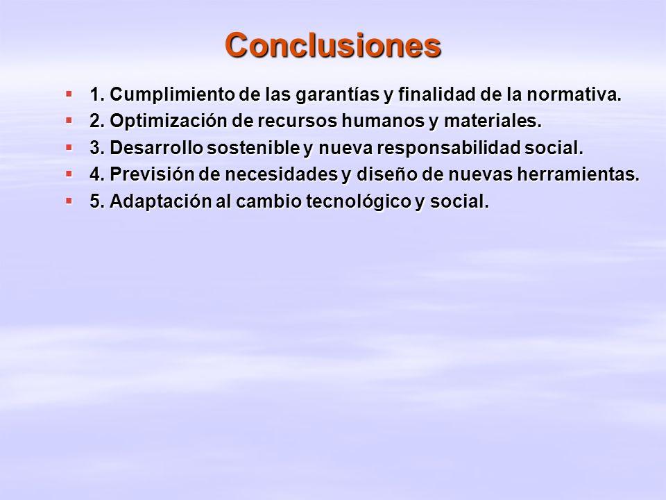 Conclusiones 1. Cumplimiento de las garantías y finalidad de la normativa. 2. Optimización de recursos humanos y materiales.