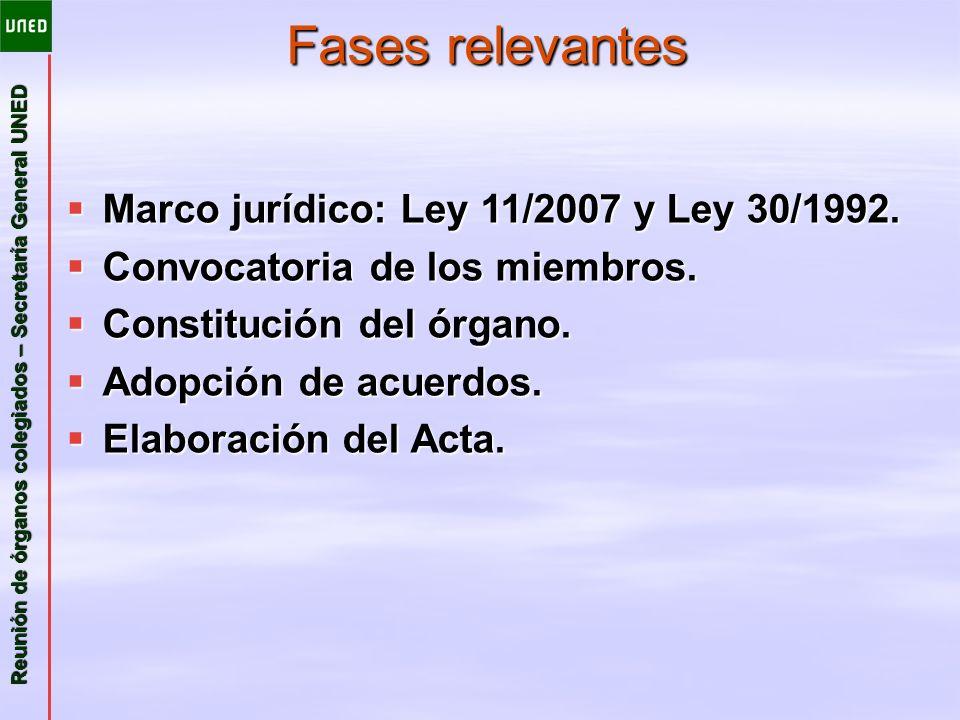 Fases relevantes Marco jurídico: Ley 11/2007 y Ley 30/1992.
