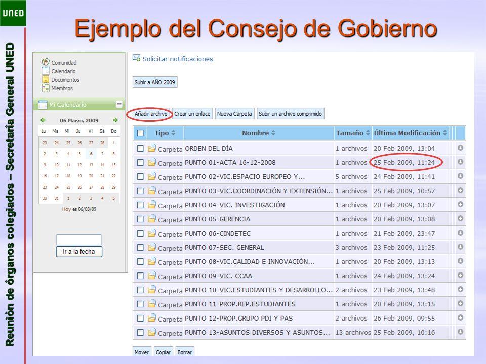 Ejemplo del Consejo de Gobierno
