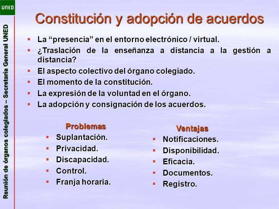Constitución y adopción de acuerdos