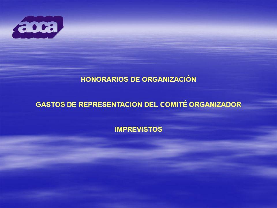 HONORARIOS DE ORGANIZACIÓN