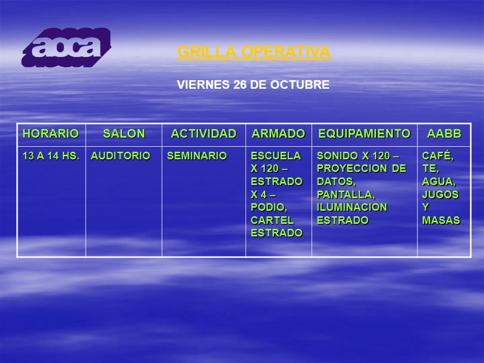 GRILLA OPERATIVA VIERNES 26 DE OCTUBRE HORARIO SALON ACTIVIDAD ARMADO