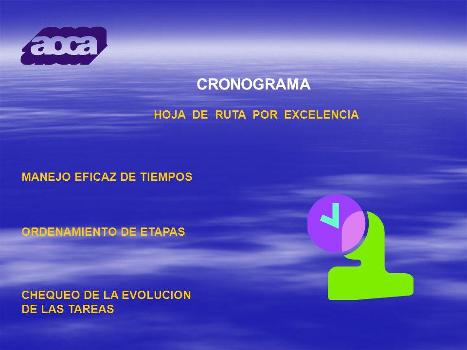 CRONOGRAMA HOJA DE RUTA POR EXCELENCIA MANEJO EFICAZ DE TIEMPOS