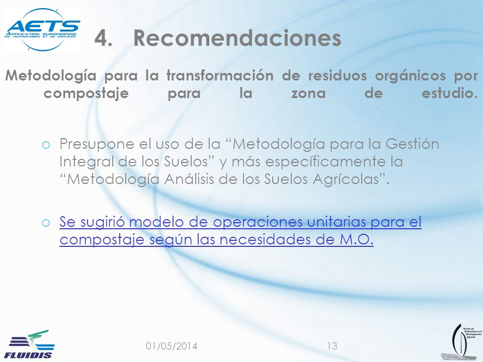 Recomendaciones Metodología para la transformación de residuos orgánicos por compostaje para la zona de estudio.