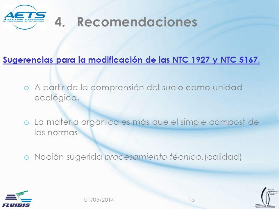 Sugerencias para la modificación de las NTC 1927 y NTC 5167.