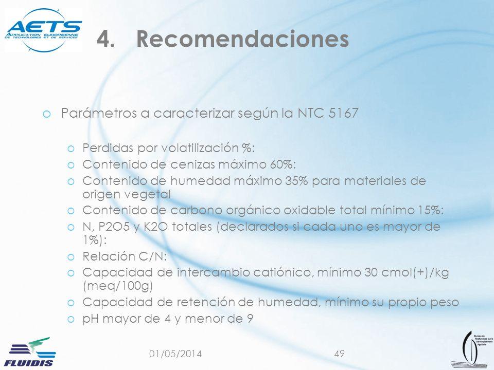 Recomendaciones Parámetros a caracterizar según la NTC 5167