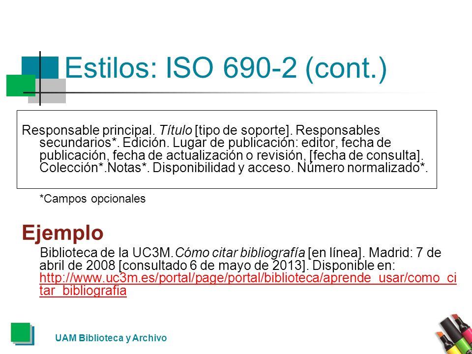 Estilos: ISO 690-2 (cont.) Ejemplo