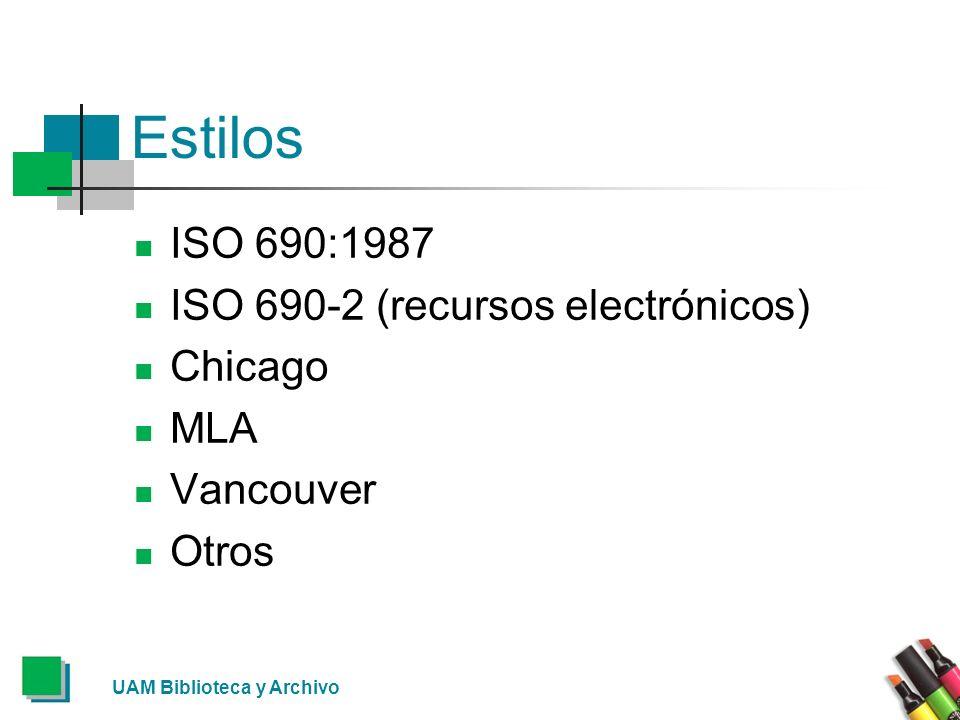 Estilos ISO 690:1987 ISO 690-2 (recursos electrónicos) Chicago MLA