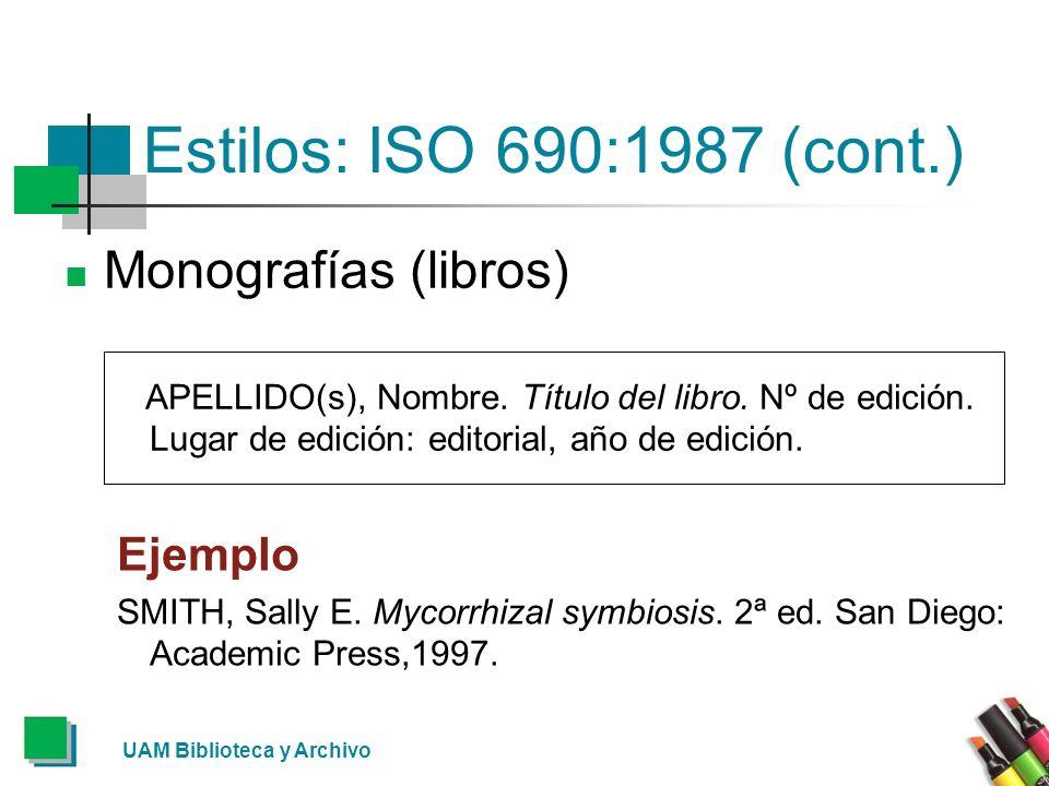 Estilos: ISO 690:1987 (cont.) Monografías (libros) Ejemplo