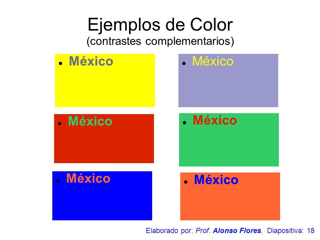 Ejemplos de Color (contrastes complementarios)
