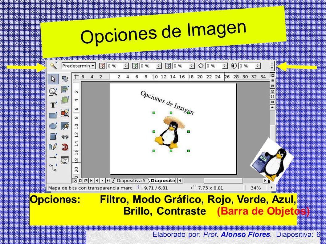 Opciones de Imagen Opciones: Filtro, Modo Gráfico, Rojo, Verde, Azul,