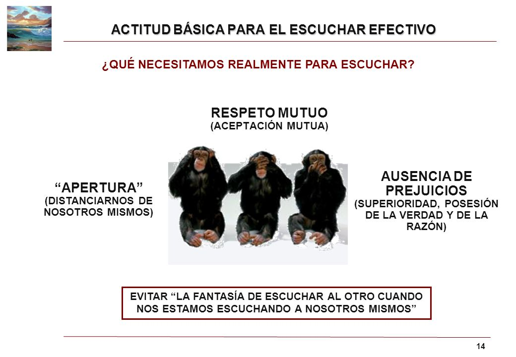 ACTITUD BÁSICA PARA EL ESCUCHAR EFECTIVO