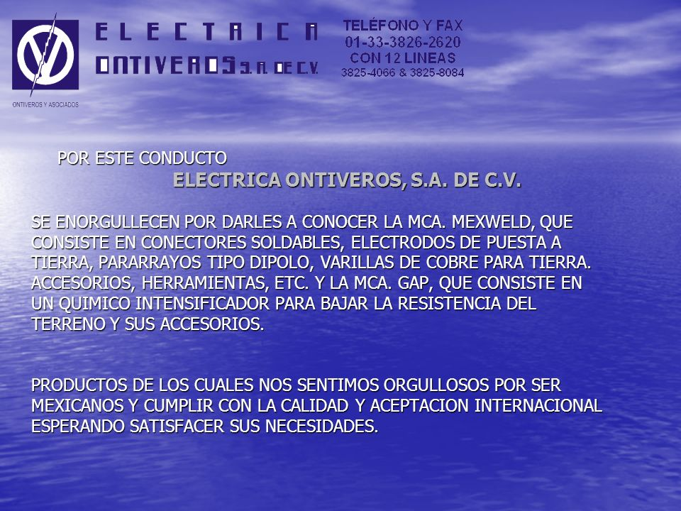 ELECTRICA ONTIVEROS, S.A. DE C.V.