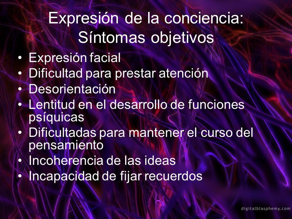 Expresión de la conciencia: Síntomas objetivos