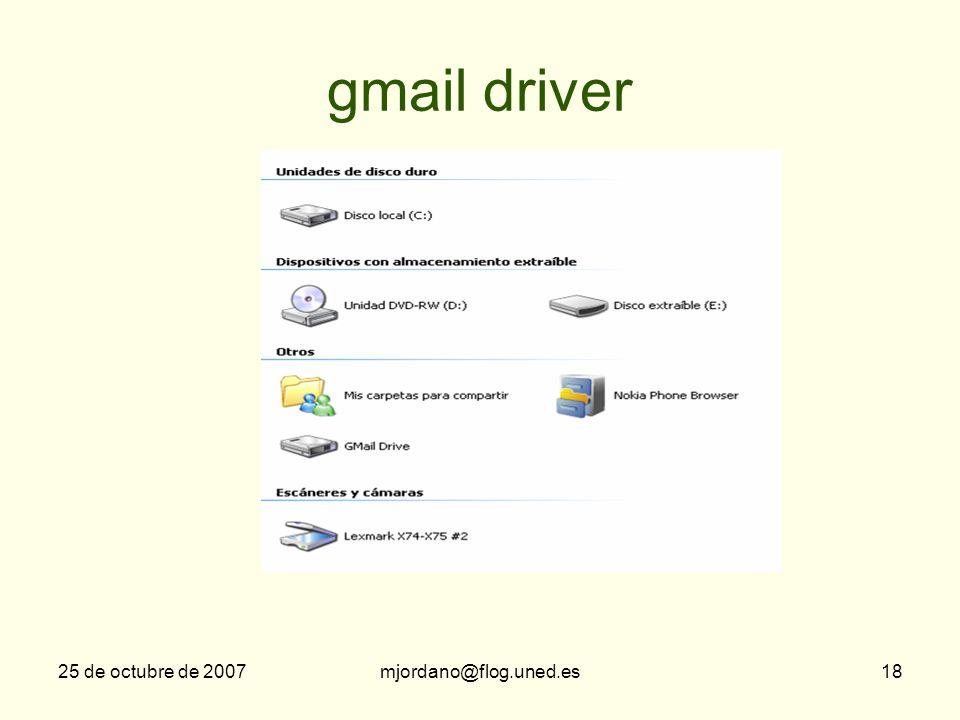gmail driver 25 de octubre de 2007 mjordano@flog.uned.es