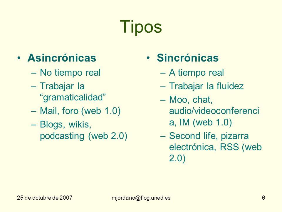 Tipos Asincrónicas Sincrónicas No tiempo real