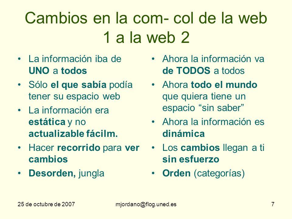 Cambios en la com- col de la web 1 a la web 2