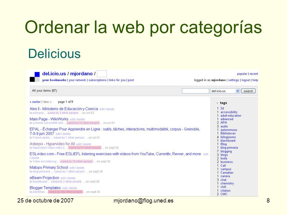 Ordenar la web por categorías