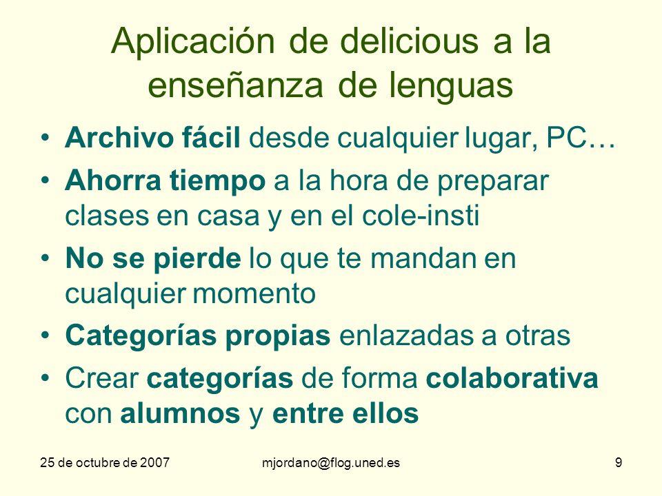 Aplicación de delicious a la enseñanza de lenguas
