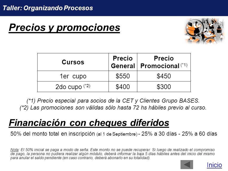 Precios y promociones Financiación con cheques diferidos