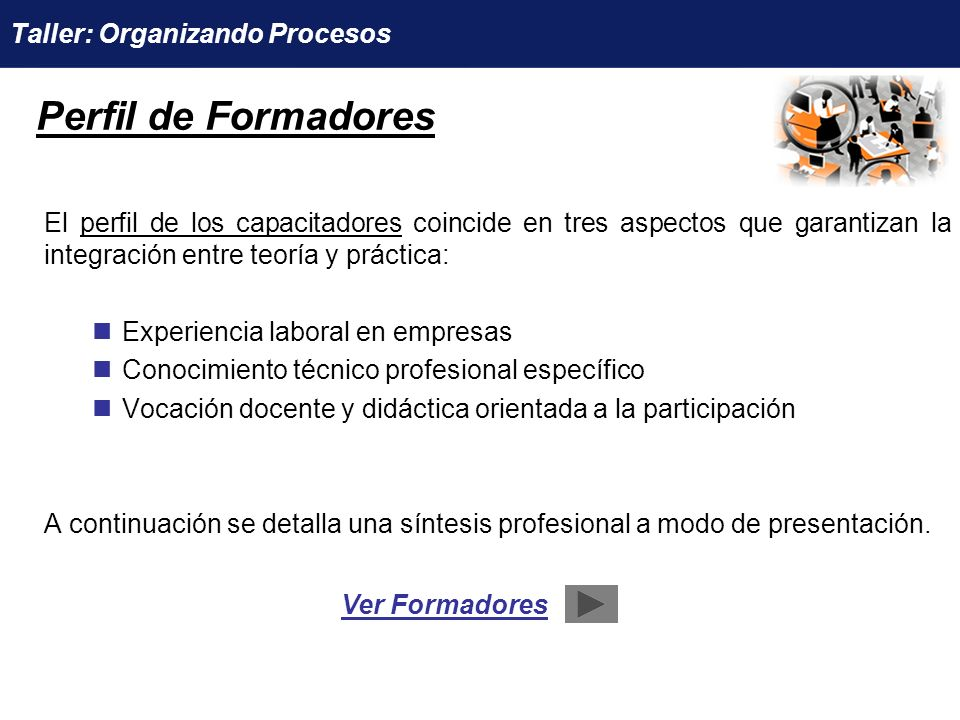 Perfil de Formadores Taller: Organizando Procesos