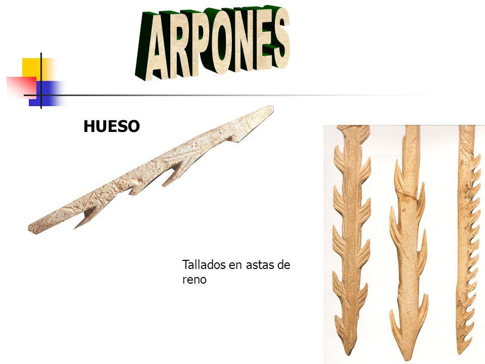 ARPONES HUESO Tallados en astas de reno