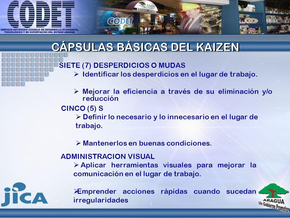 CAPSULAS DEL KAIZEN Programas empacados muy conocidos que contienen diversos módulos del kaizen. TQM.