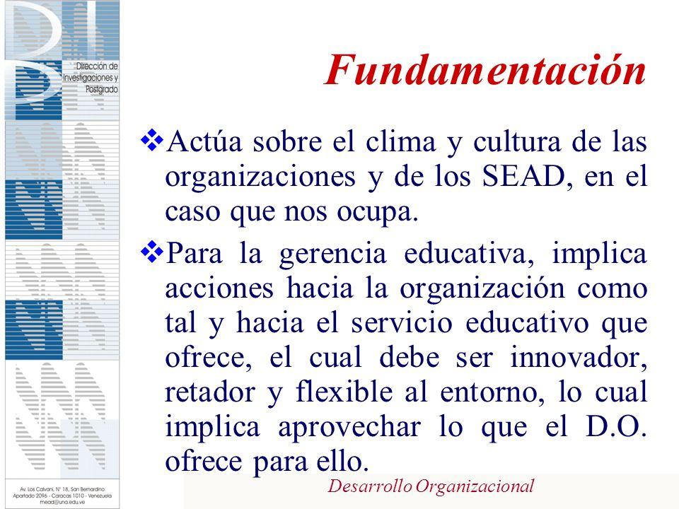 Fundamentación Actúa sobre el clima y cultura de las organizaciones y de los SEAD, en el caso que nos ocupa.