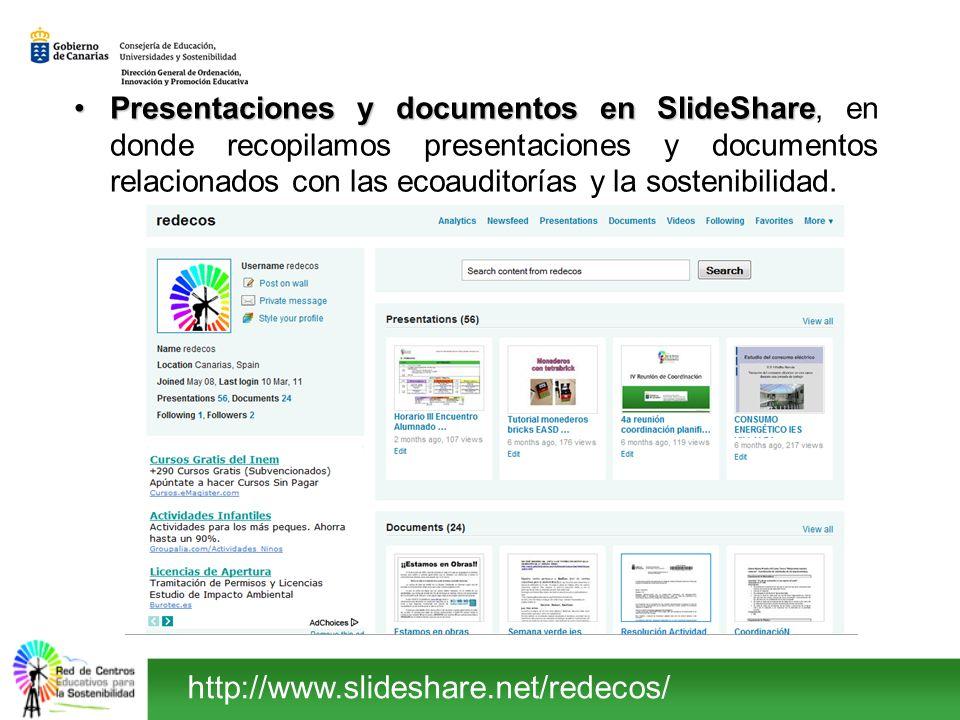 Presentaciones y documentos en SlideShare, en donde recopilamos presentaciones y documentos relacionados con las ecoauditorías y la sostenibilidad.